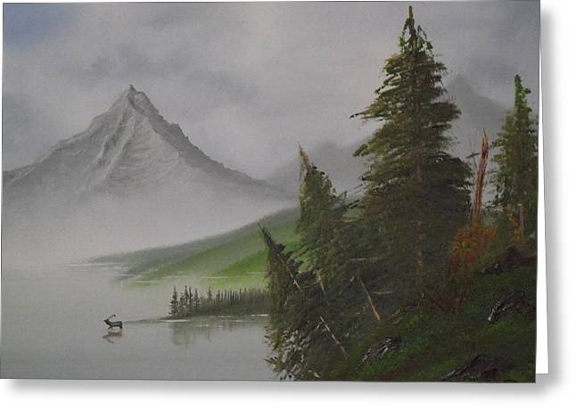 Bob Ross Paintings Greeting Cards - Bull Lake Greeting Card by Caleb Mitchell