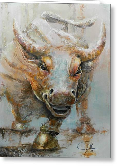 New York City Paintings Greeting Cards - Bull Market W Redo Greeting Card by John Henne