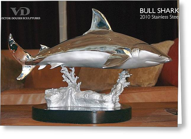 Sharks Sculptures Greeting Cards - Bull shark Greeting Card by Victor Douieb