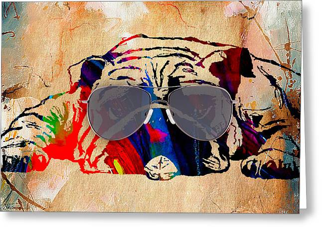 Puppies Mixed Media Greeting Cards - Bulldog Collection Greeting Card by Marvin Blaine