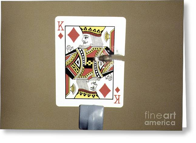 High Speed Photography Greeting Cards - Bullet Piercing Playing Card Greeting Card by Gary S. Settles