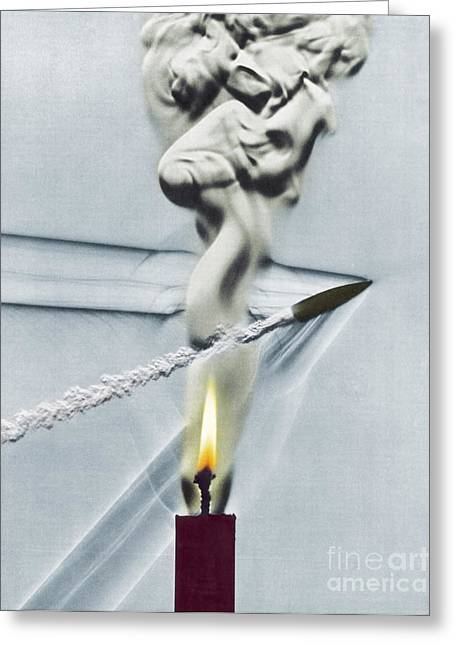 High Speed Photography Greeting Cards - Bullet Shot Through Candle Flame Greeting Card by Science Source