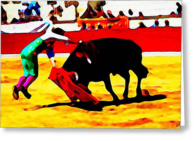 Bullfighter In Water Color Greeting Card by Bruce Nutting