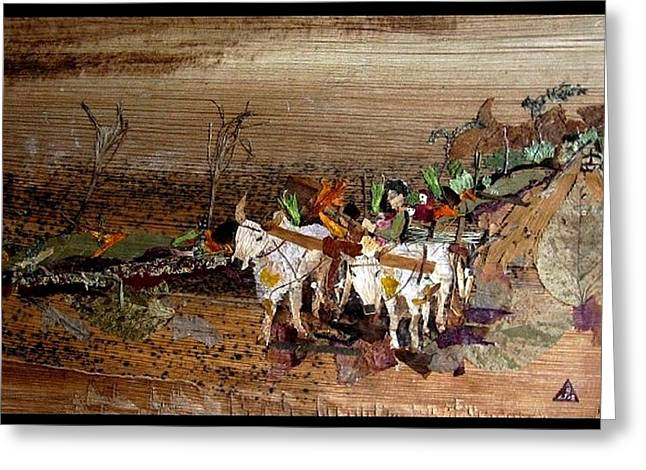 Eco-village Greeting Cards - Bullock cart Greeting Card by Basant Soni