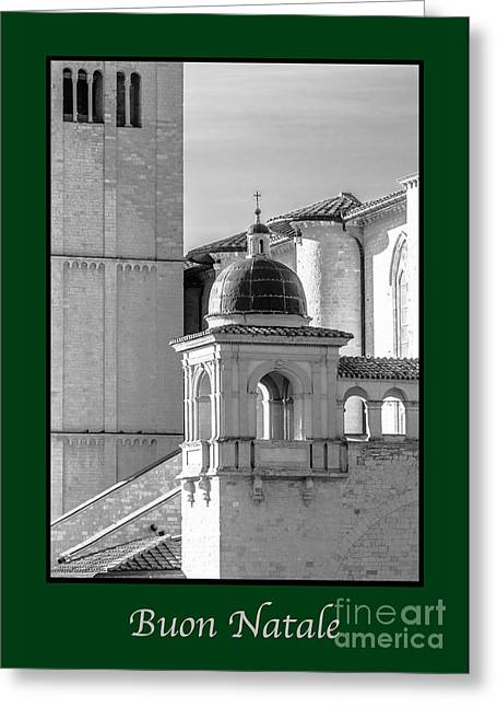 Buon Greeting Cards - Buon Natale with Basilica Details Greeting Card by Prints of Italy