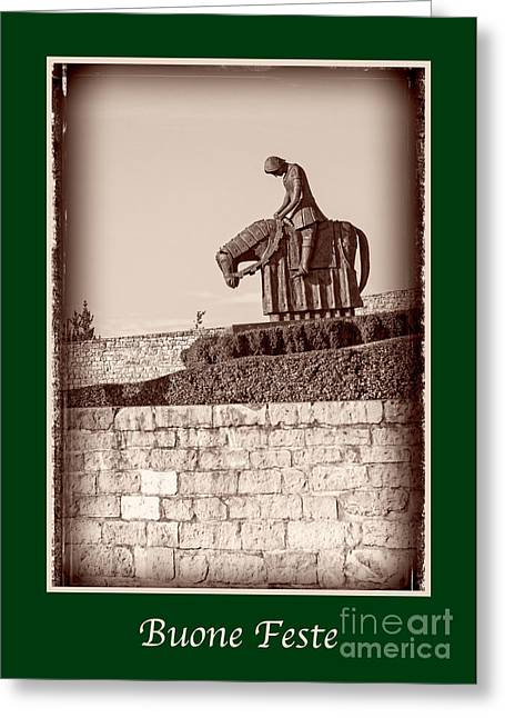 X-mas Card Greeting Cards - Buone Feste with St Francis Greeting Card by Prints of Italy