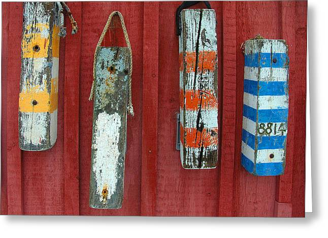 Recently Sold -  - Schooner Greeting Cards - Buoys at Rockport Motif Number One Lobster Shack Maritime Greeting Card by Jon Holiday