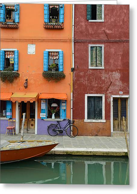 Pot Boat Greeting Cards - Burano Italy Greeting Card by Brandon Bourdages