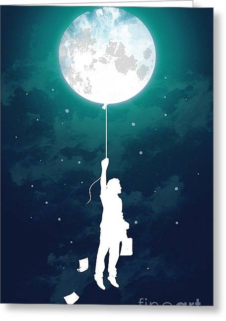 Outer Space Greeting Cards - Burn the midnight oil Greeting Card by Budi Kwan