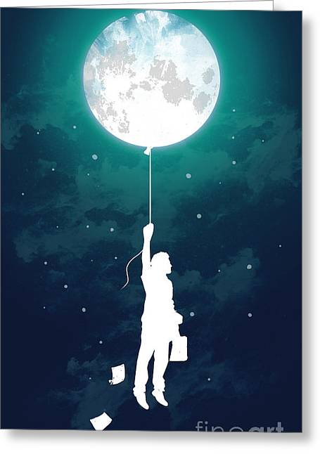Night Sky Greeting Cards - Moon Traveler Greeting Card by Nava Seas