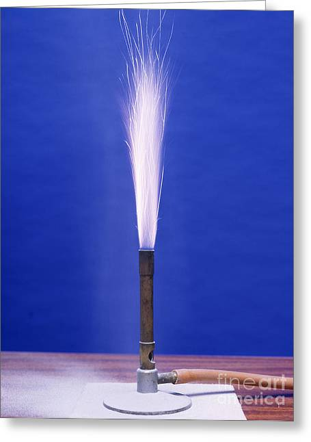 Pyrotechnics Greeting Cards - Burning Aluminium Greeting Card by Andrew Lambert Photography