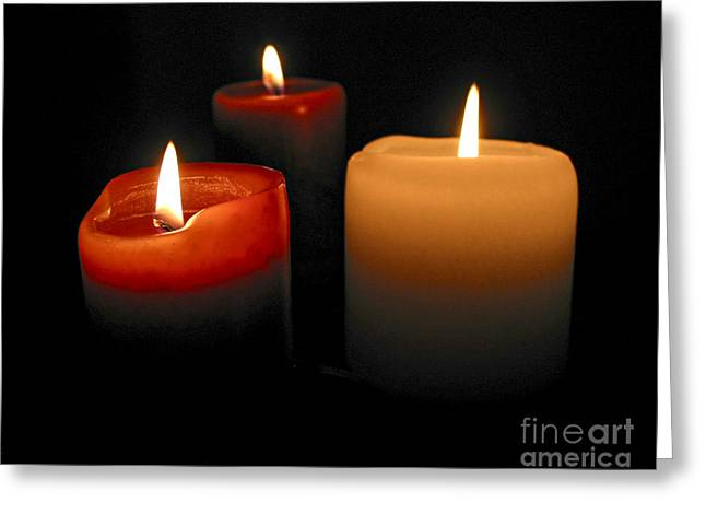 Wax Greeting Cards - Burning candles Greeting Card by Elena Elisseeva