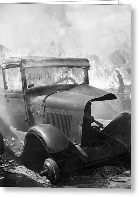 Debris Greeting Cards - Burning Car Circa 1942  Greeting Card by Aged Pixel