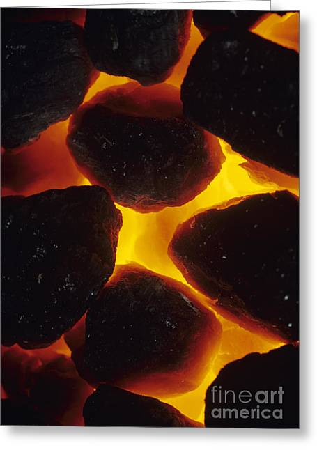 Combusting Greeting Cards - Burning Coal Greeting Card by David Aubrey