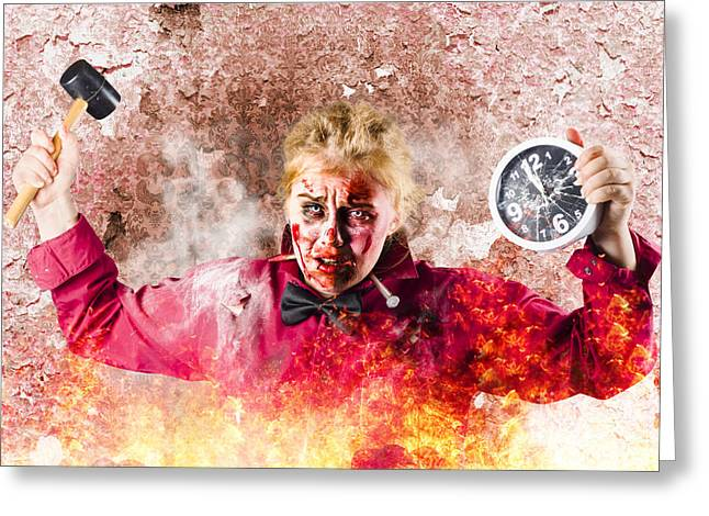 Burning Girl Holding Clock And Hammer. Apocalypse Now Greeting Card by Jorgo Photography - Wall Art Gallery