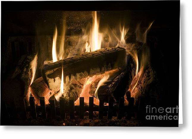 Carbon Dioxide Greeting Cards - Burning Wood On An Open Fire Greeting Card by Sheila Terry