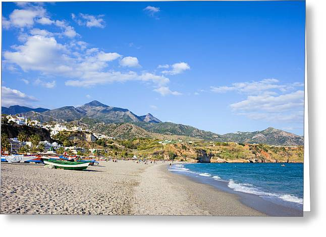Andalucia Greeting Cards - Burriana Beach in Nerja Greeting Card by Artur Bogacki