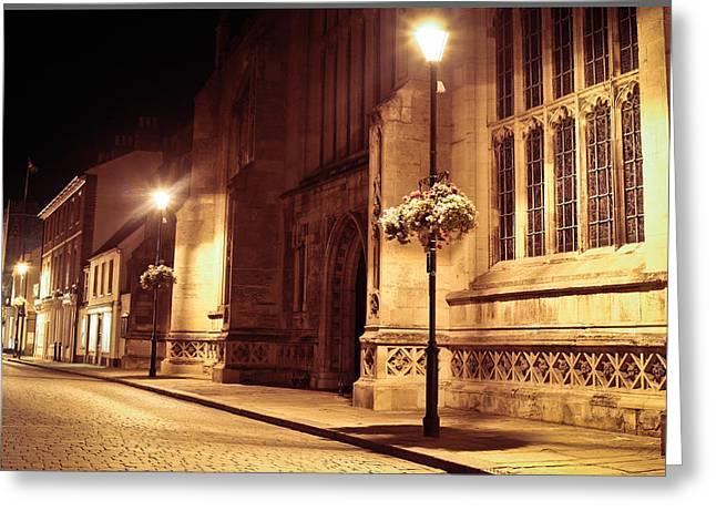 Streetlight Greeting Cards - Bury St Edmunds Night Scene Greeting Card by Tom Gowanlock