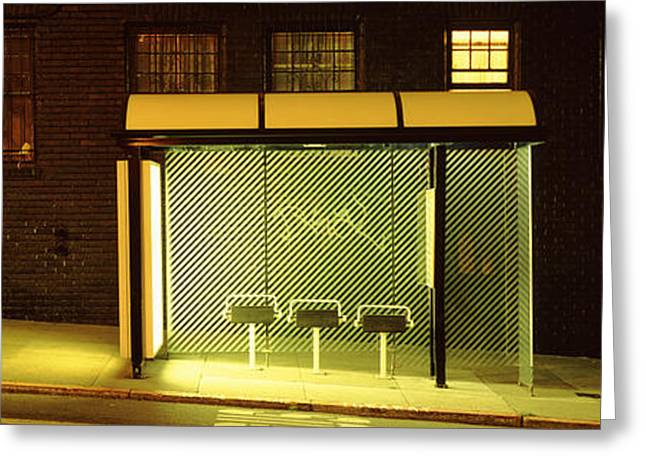 Absence Greeting Cards - Bus Stop At Night, San Francisco Greeting Card by Panoramic Images