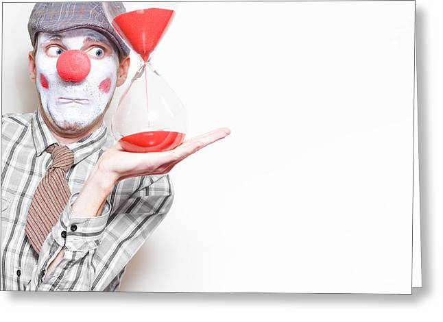 Red Hourglass Greeting Cards - Business Countdown Clown Holding Deadline Timer Greeting Card by Ryan Jorgensen