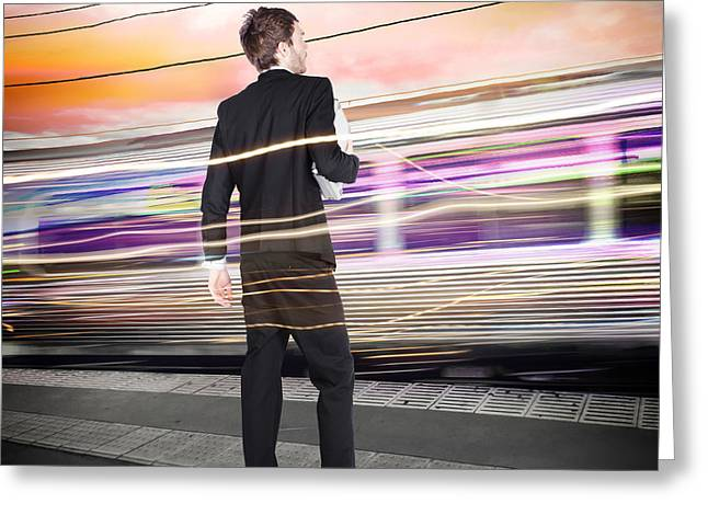 Business Man At Train Station Railway Platform Greeting Card by Jorgo Photography - Wall Art Gallery