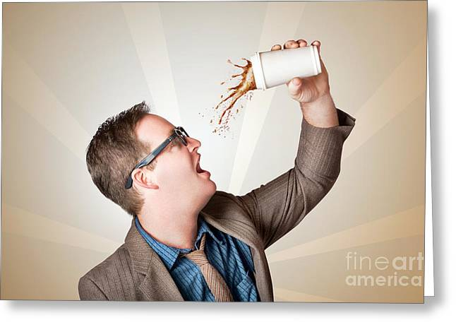 Pause Greeting Cards - Business man drinking a quick coffee on the go Greeting Card by Ryan Jorgensen