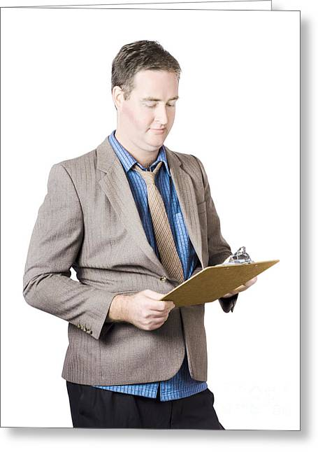 Validation Greeting Cards - Business man holding audit clip board Greeting Card by Ryan Jorgensen