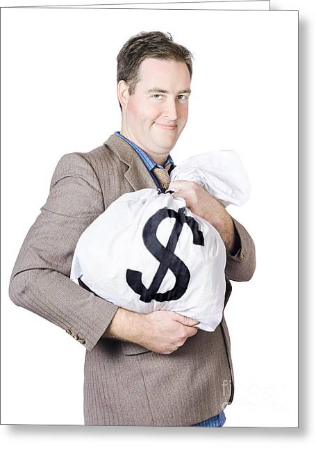 Young Money Greeting Cards - Business man holding money bag with dollar sign Greeting Card by Ryan Jorgensen