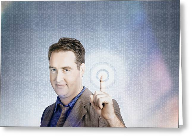 Business Man Pressing Digital Target Touch Screen Greeting Card by Jorgo Photography - Wall Art Gallery