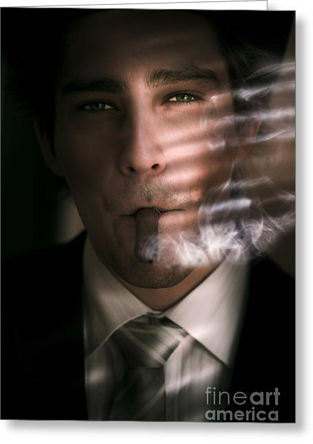 Business Man Smoking Cigar In Victory And Success Greeting Card by Jorgo Photography - Wall Art Gallery