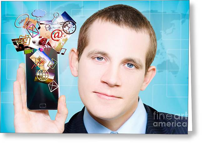 Web Gallery Greeting Cards - Business Man Steaming Media Apps On Smart Phone Greeting Card by Ryan Jorgensen