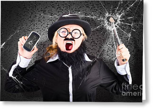 Cellphone Greeting Cards - Business man with cracked mobile phone screen Greeting Card by Ryan Jorgensen