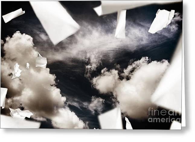 Polution Greeting Cards - Business papers falling in the sky Greeting Card by Ryan Jorgensen