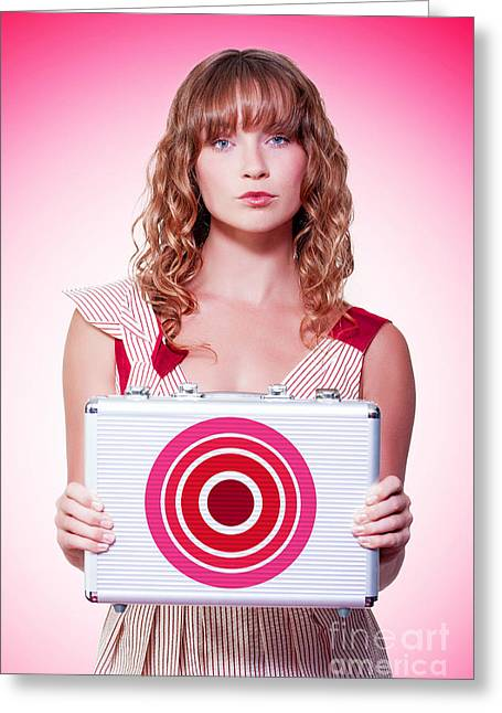 Ambition Greeting Cards - Business person holding target symbol briefcase  Greeting Card by Ryan Jorgensen