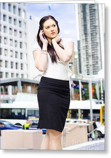 Cellphone Greeting Cards - Business Person Talking On Mobile Phone In Street Greeting Card by Ryan Jorgensen