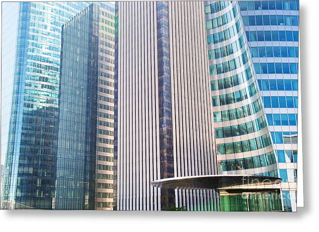 Enterprise Photographs Greeting Cards - Business skyscrapers modern architecture Greeting Card by Michal Bednarek