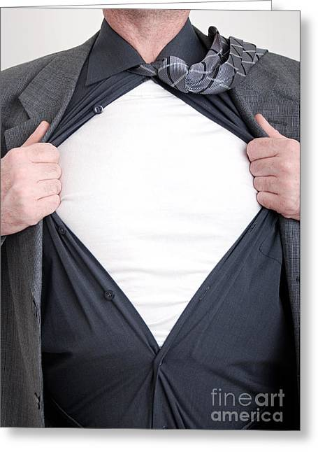 Open Shirt Greeting Cards - Business superhero Greeting Card by Antony McAulay