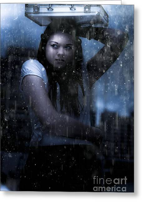 Business Woman Caught In Rain And Bad Weather Greeting Card by Jorgo Photography - Wall Art Gallery