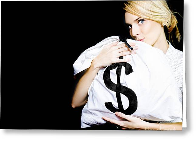 Business Woman In Love With Financial Success  Greeting Card by Jorgo Photography - Wall Art Gallery