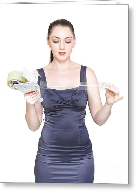 Sleeveless Greeting Cards - Business Woman Sealing And Packaging Business Deal Greeting Card by Ryan Jorgensen