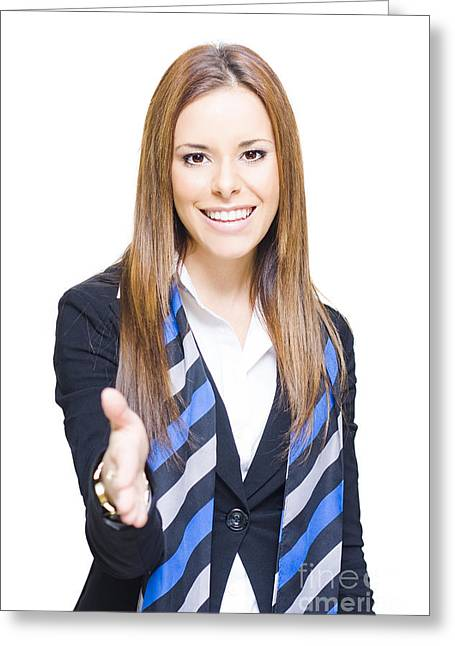 Cooperation Greeting Cards - Business Woman Shaking Hands Over A Business Deal Greeting Card by Ryan Jorgensen