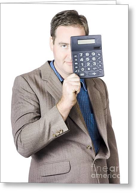 Businesspeople Greeting Cards - Businessman Holding Calculator Greeting Card by Ryan Jorgensen