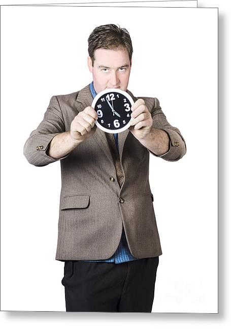 Number Circle Greeting Cards - Businessman Holding Clock Greeting Card by Ryan Jorgensen