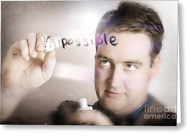 Businessman Making The Impossible Possible Greeting Card by Jorgo Photography - Wall Art Gallery