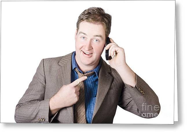 Cellphone Greeting Cards - Businessman receiving good news on a great call Greeting Card by Ryan Jorgensen