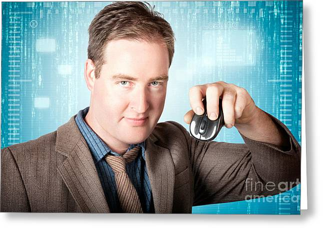 Businessman Searching Internet With Wireless Mouse Greeting Card by Jorgo Photography - Wall Art Gallery