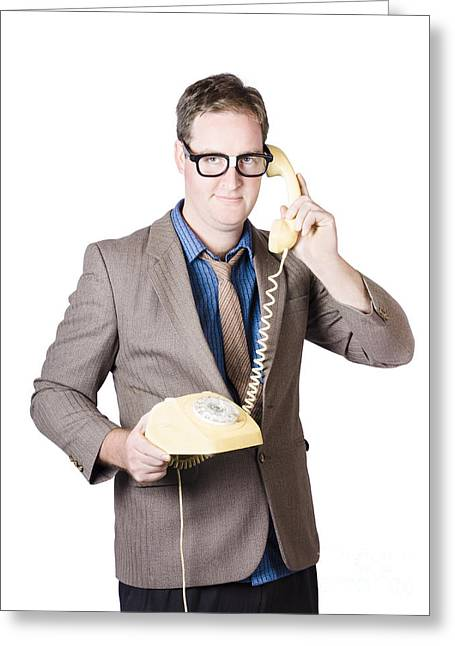1950s Portraits Greeting Cards - Businessman talking on retro telephone Greeting Card by Ryan Jorgensen