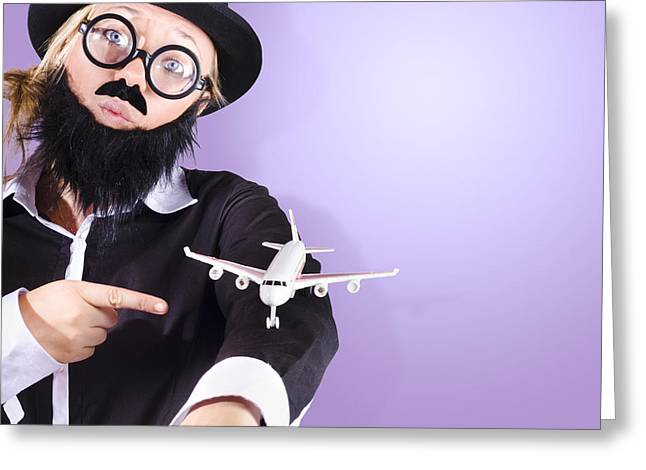 Youthful Greeting Cards - Businessman travelling business class Greeting Card by Ryan Jorgensen