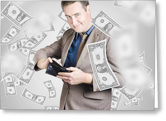 Expenditure Greeting Cards - Businessman under falling money. Financial success Greeting Card by Ryan Jorgensen