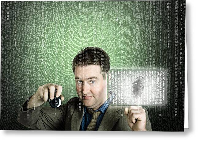 Businessman Using Digital Security Data Protection Greeting Card by Jorgo Photography - Wall Art Gallery